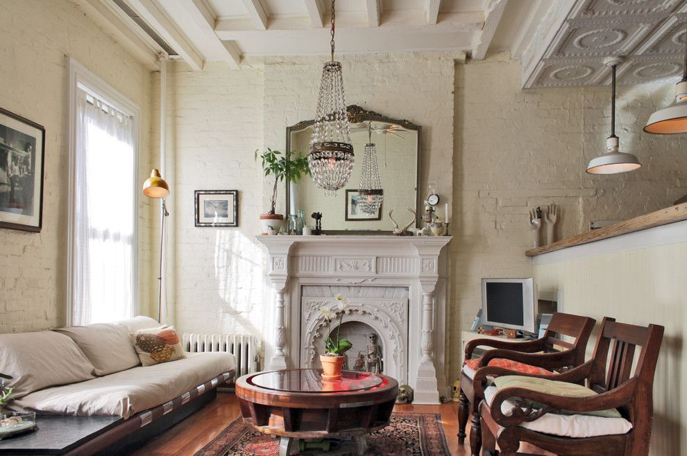 Brownstone Furniture for a Shabby Chic Style Living Room with a Victorian and My Houzz: Antiques and Curio Items Add Interest to a Brooklyn Brownstone by Laura Garner
