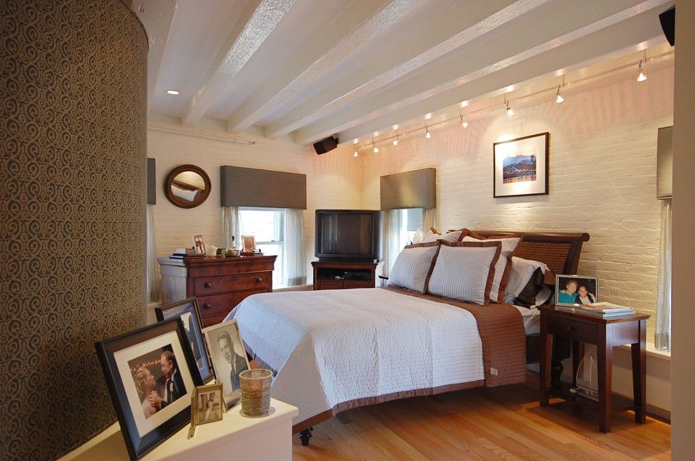 Bruck Lighting for a Contemporary Bedroom with a Wallcoverings and Boston Condo by Leslie Saul & Associates