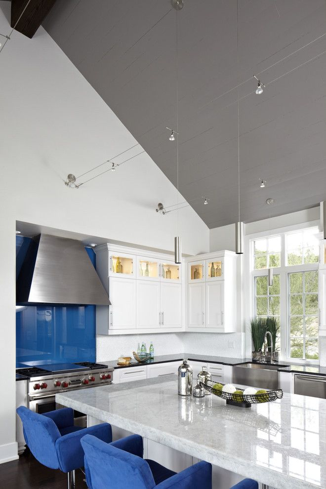 Bruck Lighting for a Contemporary Kitchen with a Stainless Appliances and Westlake Residence by Tracy Miller/miller Greene Design Studio