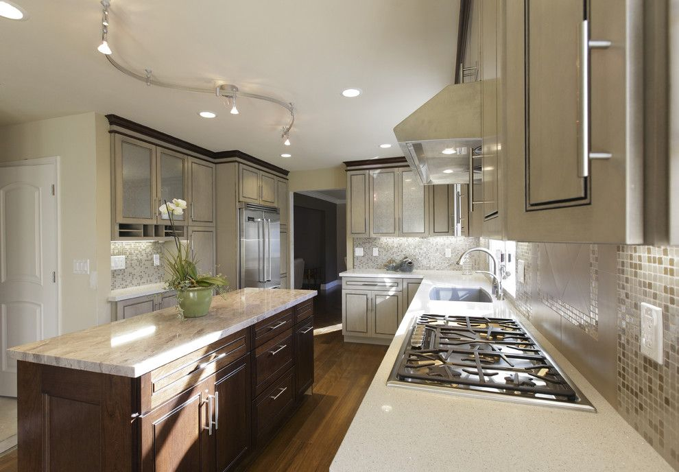 Bruck Lighting for a Transitional Kitchen with a Tile Backsplash and Jc Project by De Anza Interior