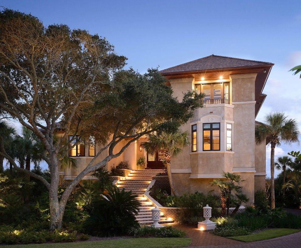 Buffington Homes for a Mediterranean Exterior with a Brick Staircase and Kiawah Island Tuscan Villa by Buffington Homes South Carolina