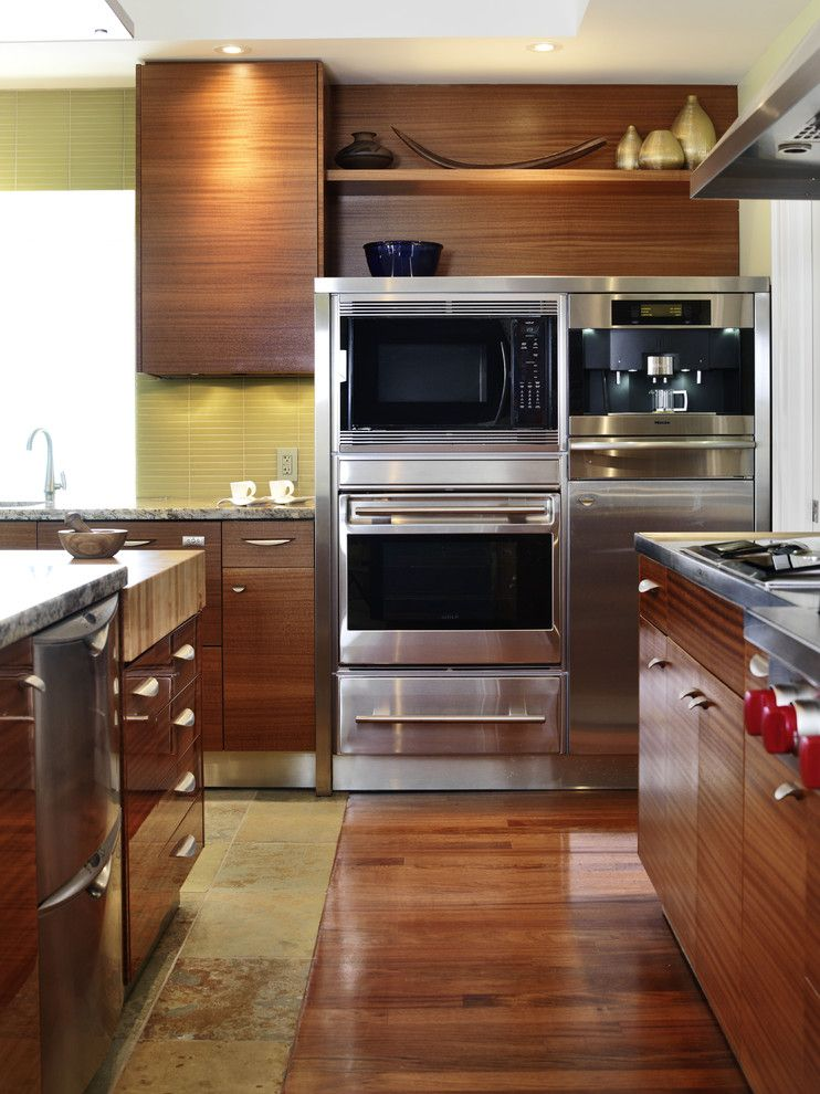 Builders Appliance Center for a Asian Kitchen with a Wood Floor and Erin Mills Project   Kitchen by Xtc Design Incorporated