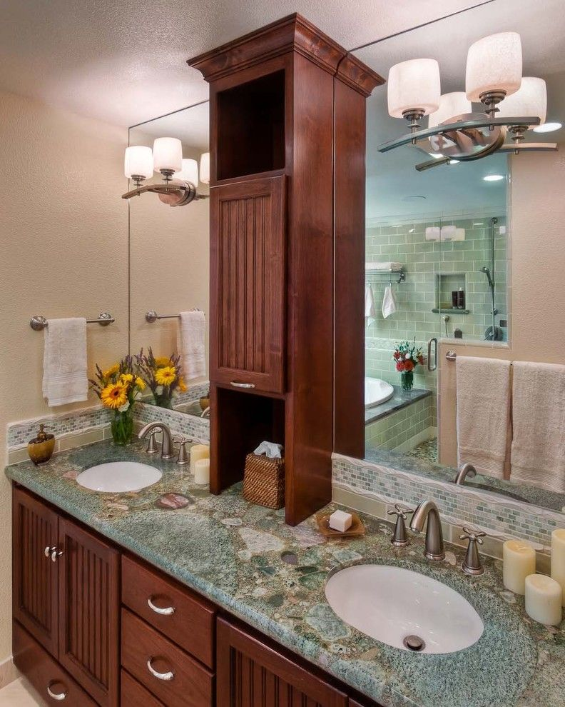 Builders Appliance Center for a Contemporary Bathroom with a Wood Vanity and Dzignit, Patrice Greene by Dzignit, Patrice Greene