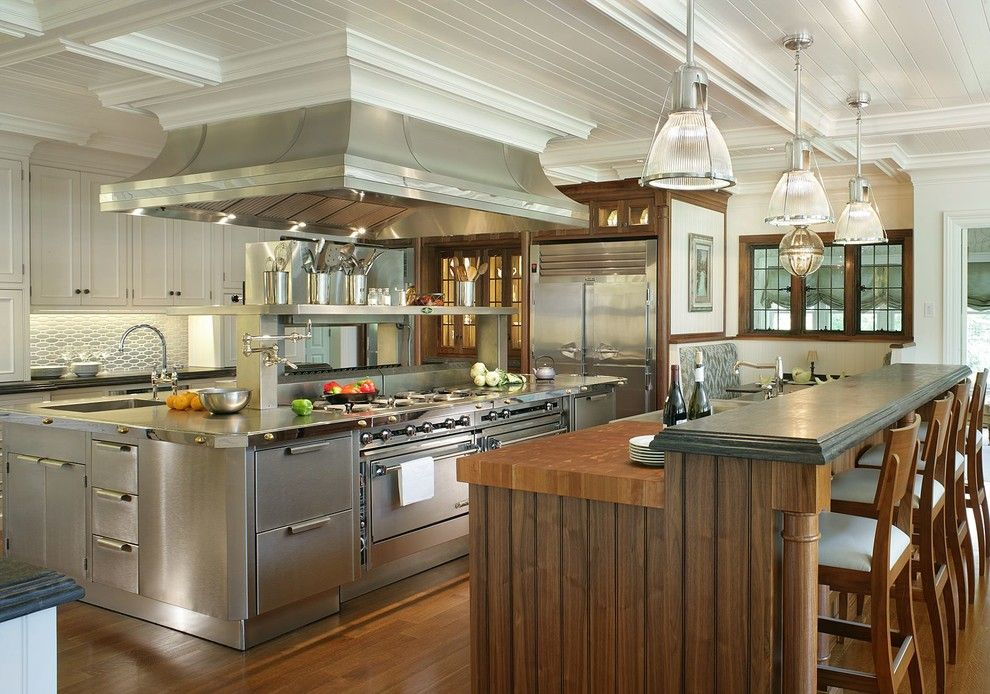 Builders Appliance Center for a Victorian Kitchen with a Wood Floor and New Shingle Style Residence   Mendham Borough by Passacantando Architects Aia