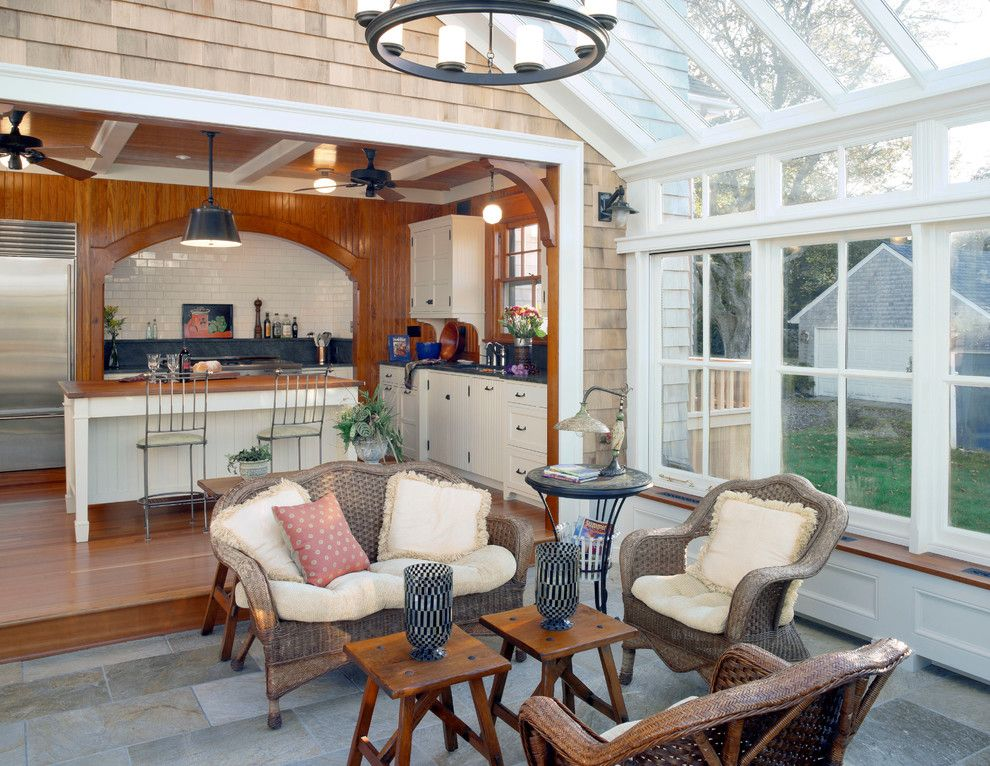 Builders Supply Outlet for a Traditional Sunroom with a Beige Drawers and Sea Captain's Home by Baud Builders, Inc.