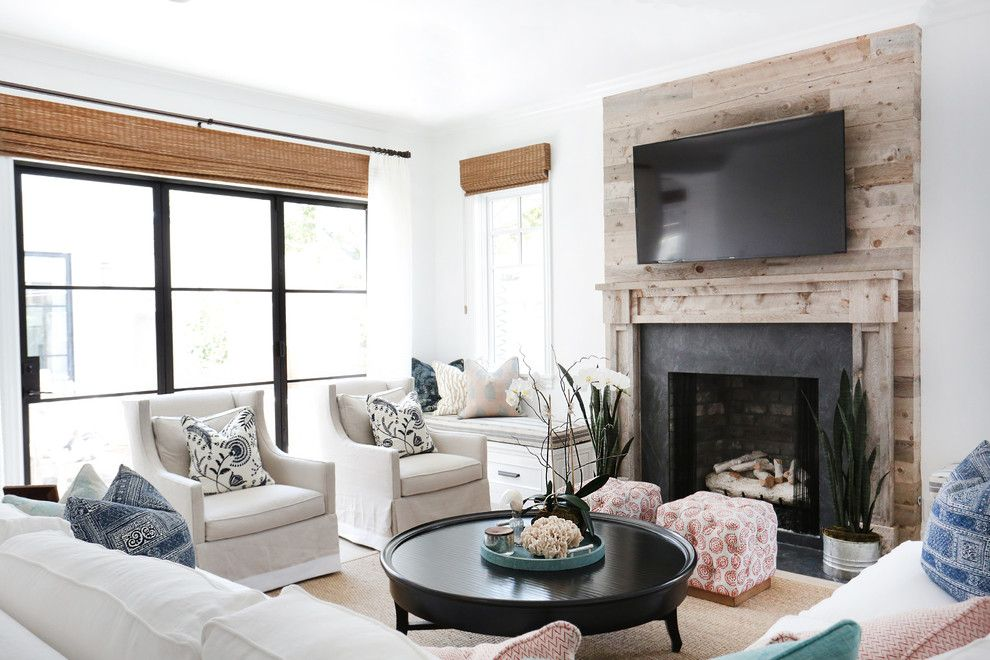 Builders Surplus Santa Ana for a Beach Style Living Room with a White Couches and Bayshores by Blackband Design