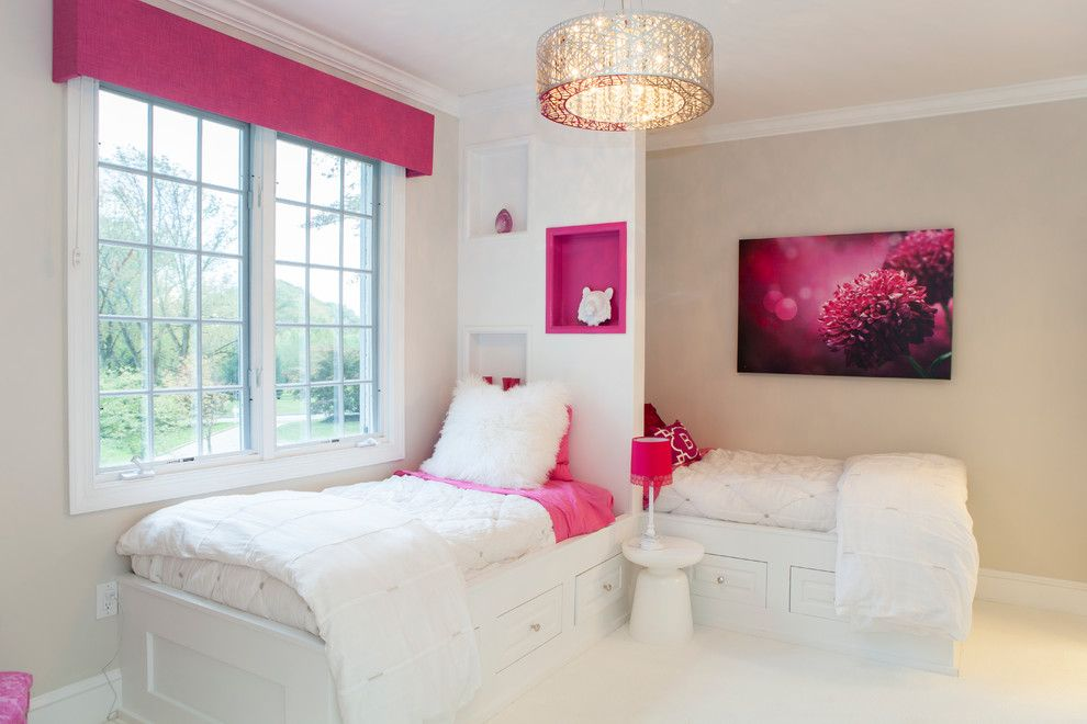 Builders Warehouse Okc for a Contemporary Kids with a Twin Beds and Villanova, Pa: Girls Pink Accent Bedroom by Rudloff Custom Builders