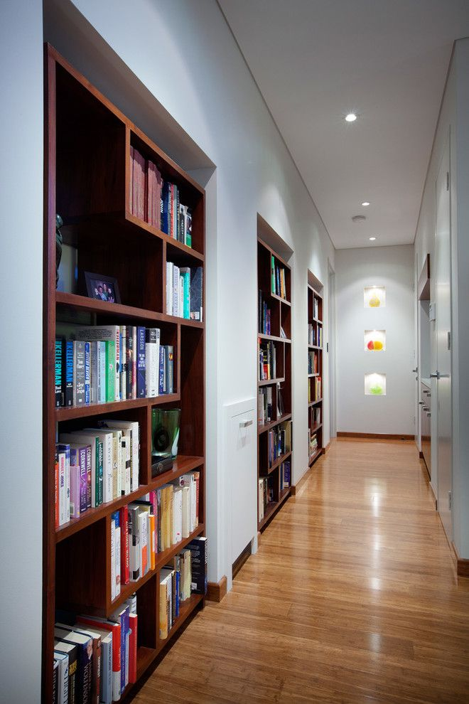 Built in Bookcase Plans for a Contemporary Hall with a Contemporary Design and Mt Claremont 2012 by Yael K Designs
