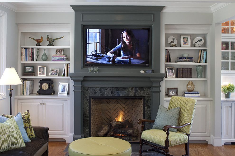 Built in Bookcase Plans for a Traditional Family Room with a Wall Mount Tv and Project in Tiburon by Julie Williams Design