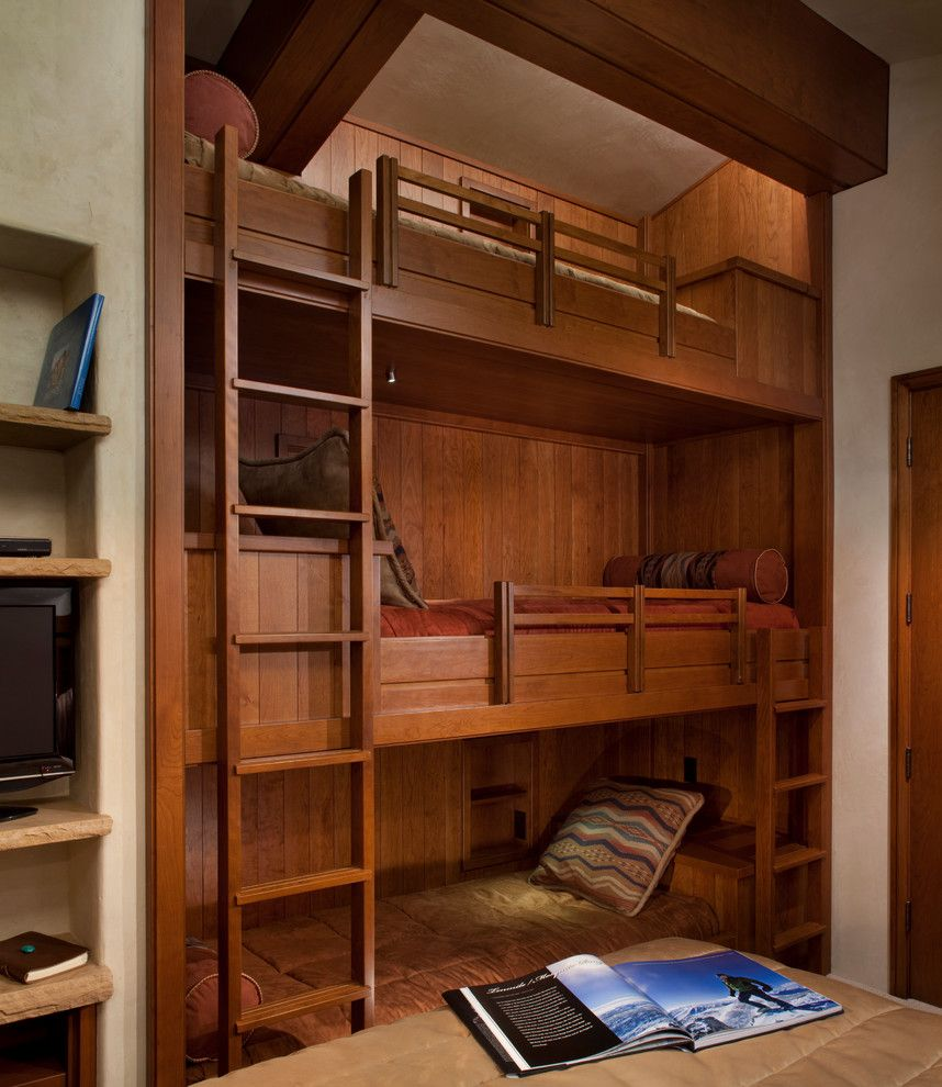 Built in bunk beds for a rustic kids with a under bed for Home decor of 9671 inc