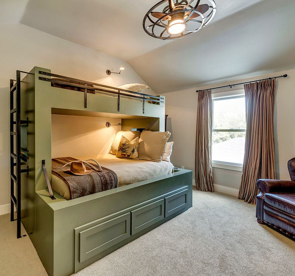 Built in Bunk Beds for a Farmhouse Bedroom with a Ceiling Fan and Modern Farmhouse by Bannister Custom Homes