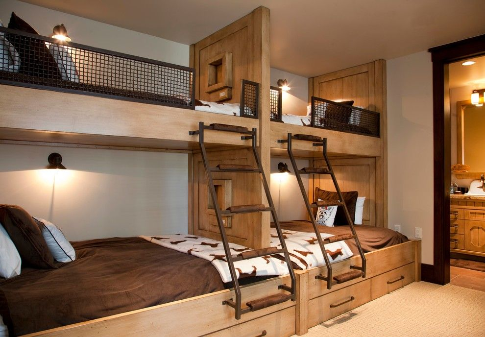 Built in Bunk Beds for a Rustic Bedroom with a Reading Light and Lot 19 by Germania Construction