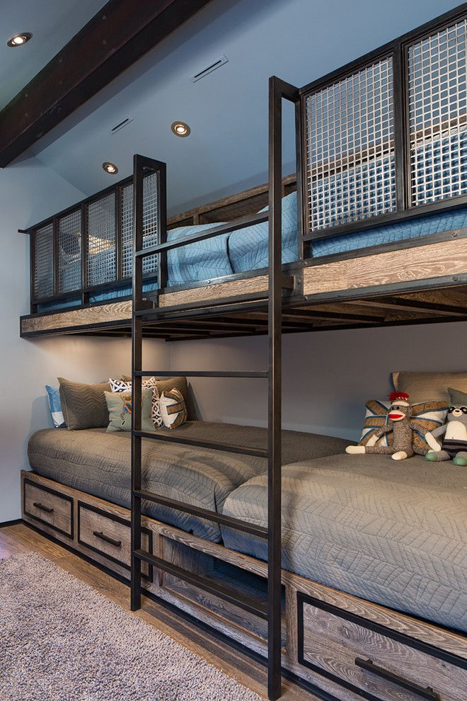 Built in Bunk Beds for a Rustic Kids with a Blue Bedding and Park City Magazine / Private Residence #3 by Richer Images Architectural Photography