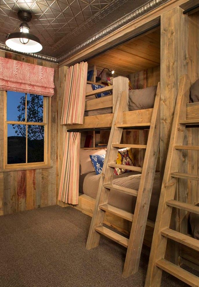 Built in bunk beds for a rustic kids with a under bed for Diy rustic bunk beds
