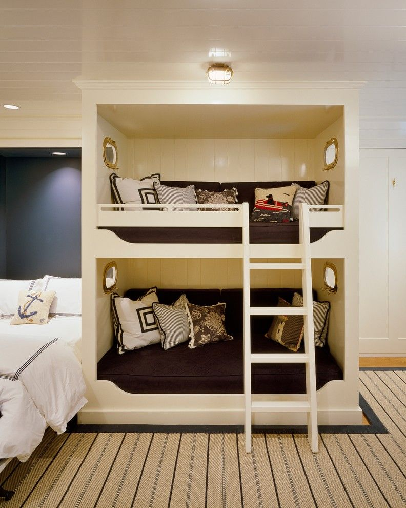 Built in Bunk Beds for a Traditional Kids with a Bunk Bed Ladder and Seaside Retreat by Jeanne Racioppi Designs