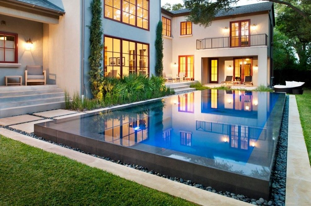 Bullnose Edge for a Contemporary Pool with a Luxury Swimming Pool and Zen by Pool Environments, Inc.