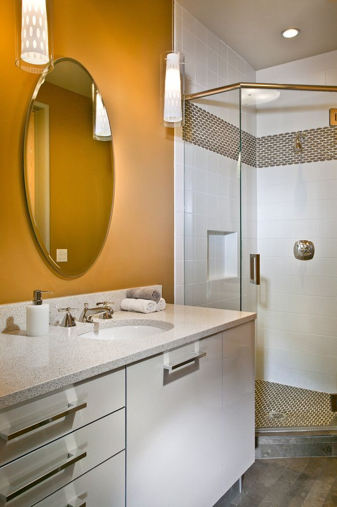 Bullnose Tile San Jose for a Contemporary Bathroom with a Pendant Lighting and New Mood Design by New Mood Design Llc