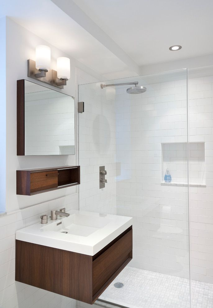 Bullnose Tile San Jose for a Contemporary Bathroom with a Two Handle Faucet and East End Avenue Apartment by Weil Friedman Architects