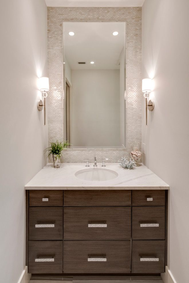 Bungalow5 for a Beach Style Powder Room with a Widespread Faucet and Naples Beach Coastal Retreat Series by 41 West