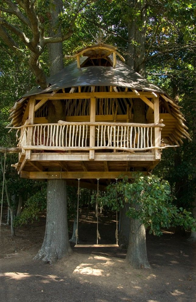 Bungalow5 for a Tropical Kids with a Timber Frame and Tree House by Hugh Lofting Timber Framing, Inc.