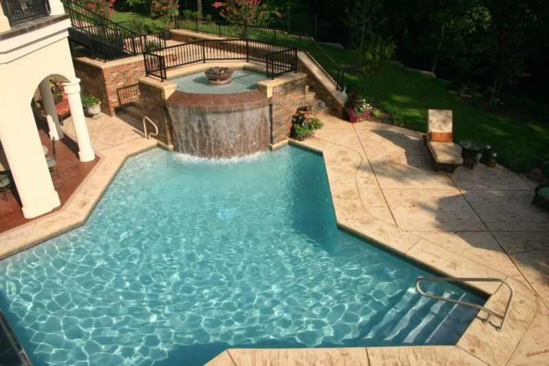 Burton Pools for a  Pool with a  and Gunite From Burton Pools by Burton Pools and Spas