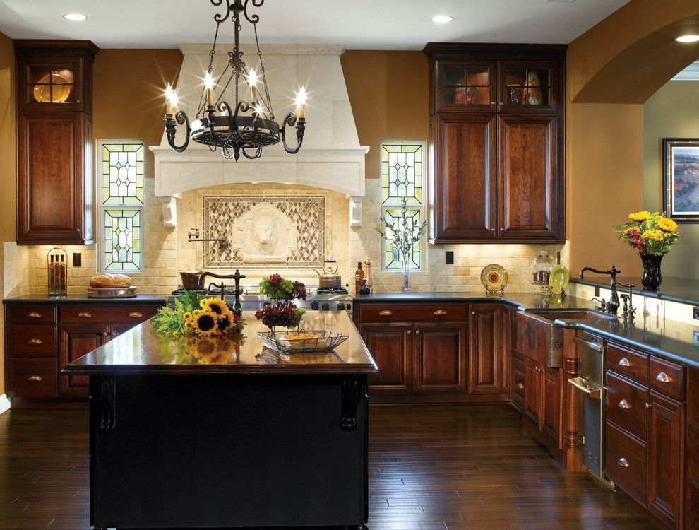 Cabinet Knob Placement for a Traditional Kitchen with a Chandelier and Kitchen Cabinets by Capitol District Supply