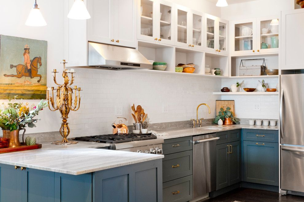 Cabinet Knob Placement for a Transitional Kitchen with a Glass Front Cabinets and My Houzz: 5th Ave Apartment by Rikki Snyder