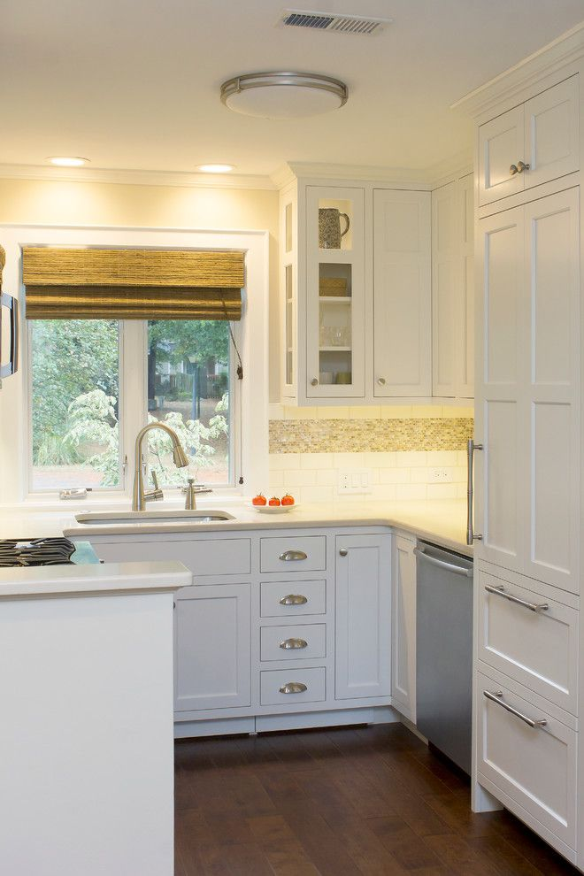 Cabinet Knob Placement for a Transitional Kitchen with a Pantry Pull Out and an Elegantly Functional Kitchen in Durham by Emma Delon