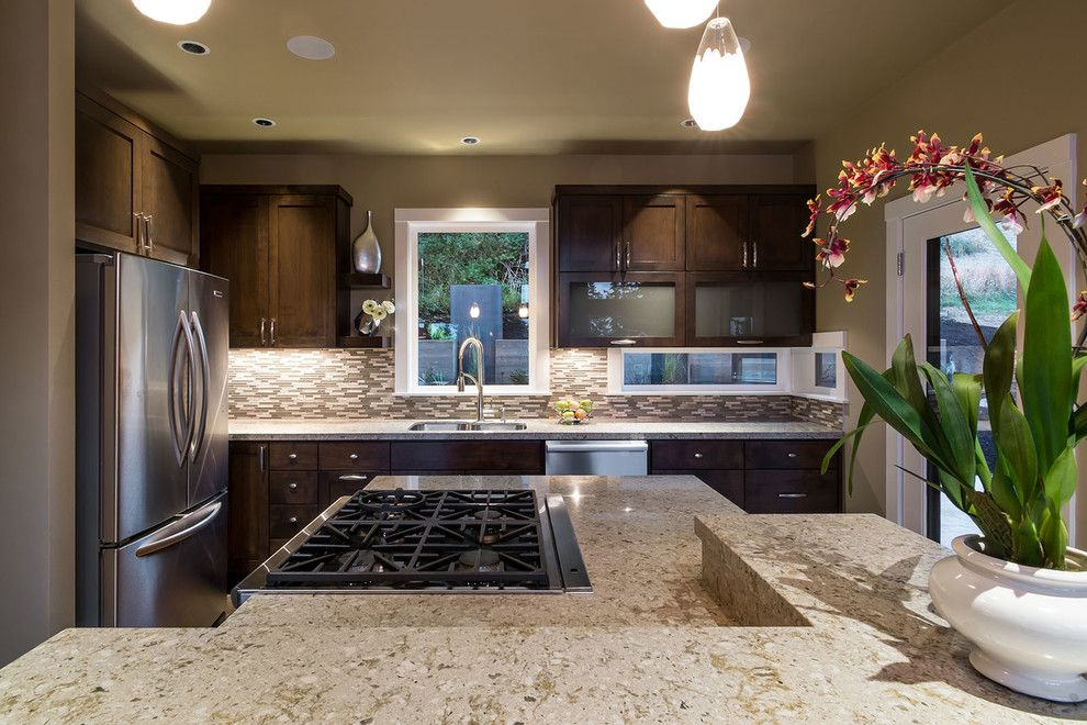 Caesarstone Colors for a Contemporary Kitchen with a Bottom Freezer Refrigerator and Nw Inspired Crest Meadows Residence by Jordan Iverson Signature Homes