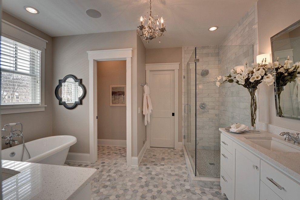 Caesarstone Colors for a Traditional Bathroom with a Quatrefoil Mirror and 2013 Spring Parade of Homes by Highmark Builders