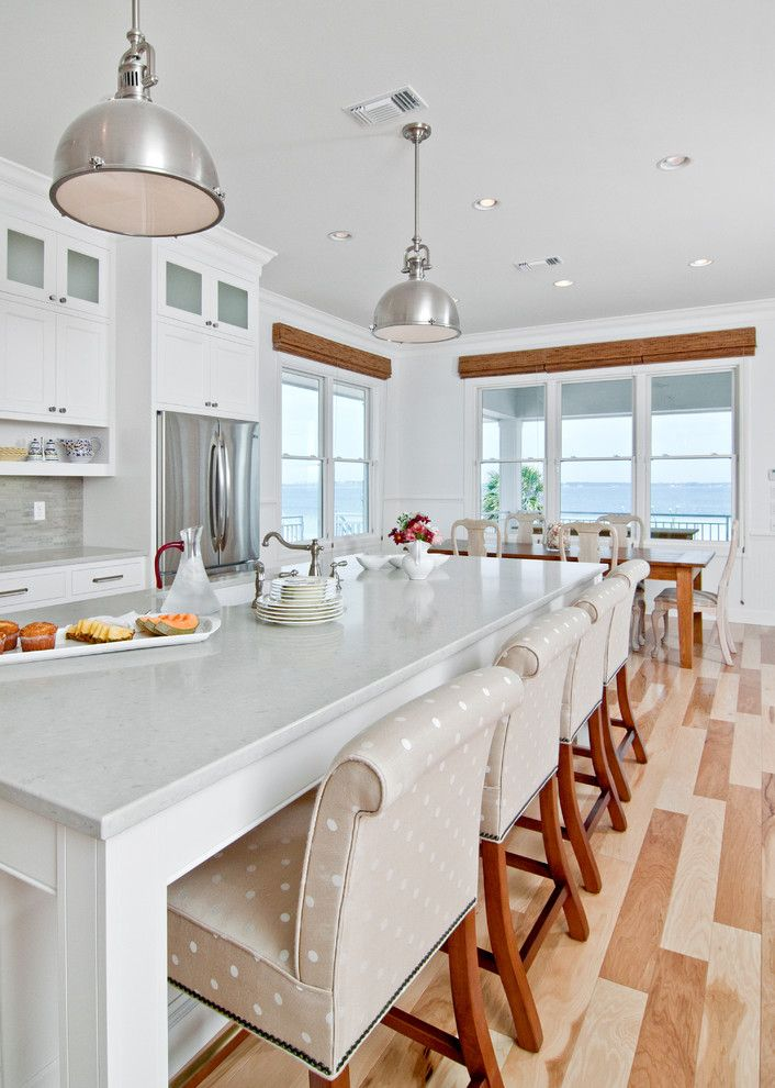 Caesarstone Colors for a Traditional Kitchen with a Kitchen Island and White Beach Kitchen by in Detail Interiors