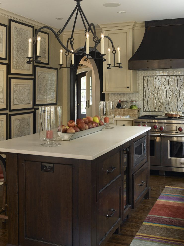 Caesarstone Colors for a Transitional Kitchen with a Candelabra and Tudor Revival by Lucy Interior Design