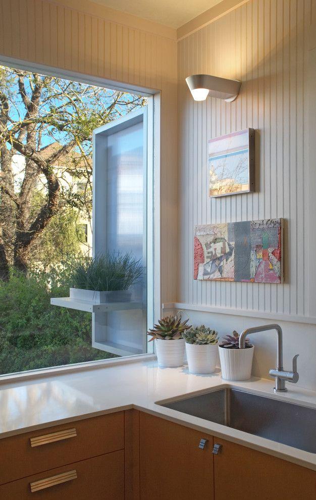 Caesarstone Quartz for a Contemporary Kitchen with a Wall Sconce and Contemporary Kitchen by Houzz.com