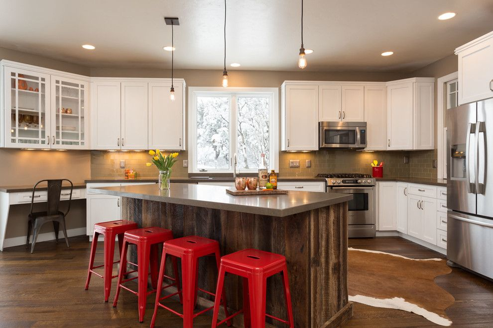 Caesarstone Quartz for a Farmhouse Kitchen with a Red Stools and Ocdesignspc Portfolio by Ocd Designpc