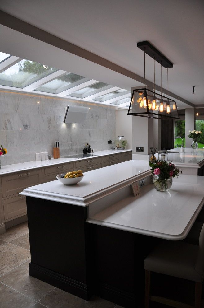 Caesarstone Quartz for a Traditional Kitchen with a Great Room and Park Lane Kitchen by Hart Woods