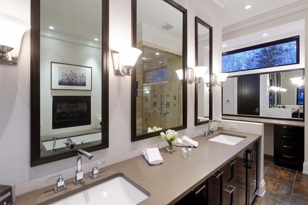 Caeserstone for a Rustic Bathroom with a Dark Wood Vanity and Master Bath by Architecture | Interiors | Planning