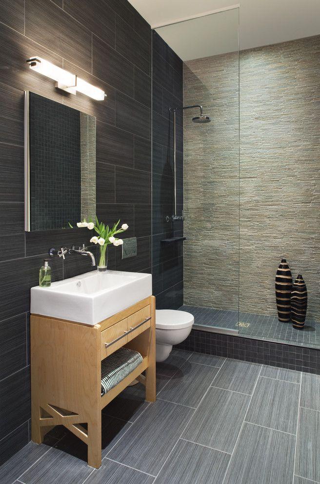 California Faucets for a Contemporary Bathroom with a Rain Shower Head and Luxury Bathroom by Prestige Custom Building & Construction, Inc.