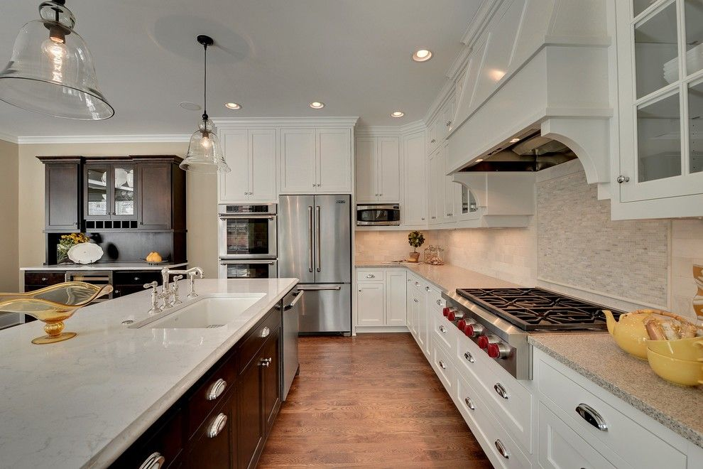 Cambria Countertops for a Traditional Kitchen with a Dark Wood Hutch and 2013 Spring Parade of Homes by Highmark Builders