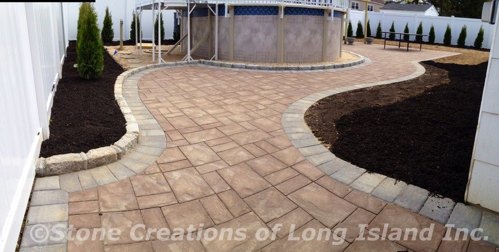 Cambridge Pavers for a Craftsman Patio with a Brick Exterior and Cambridge Paver Patio   Deer Park, N.y 11729 by Stone Creations of Long Island Pavers & Masonry