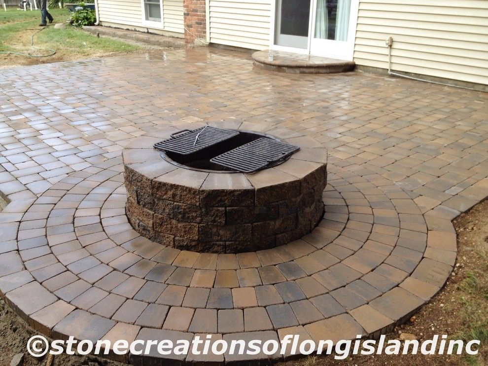 Cambridge Pavers for a Traditional Patio with a Concrete Driveway and Cambridge Paver Pool Patio with Firepit, East Northport, N.y 11731 by Stone Creations of Long Island Pavers & Masonry