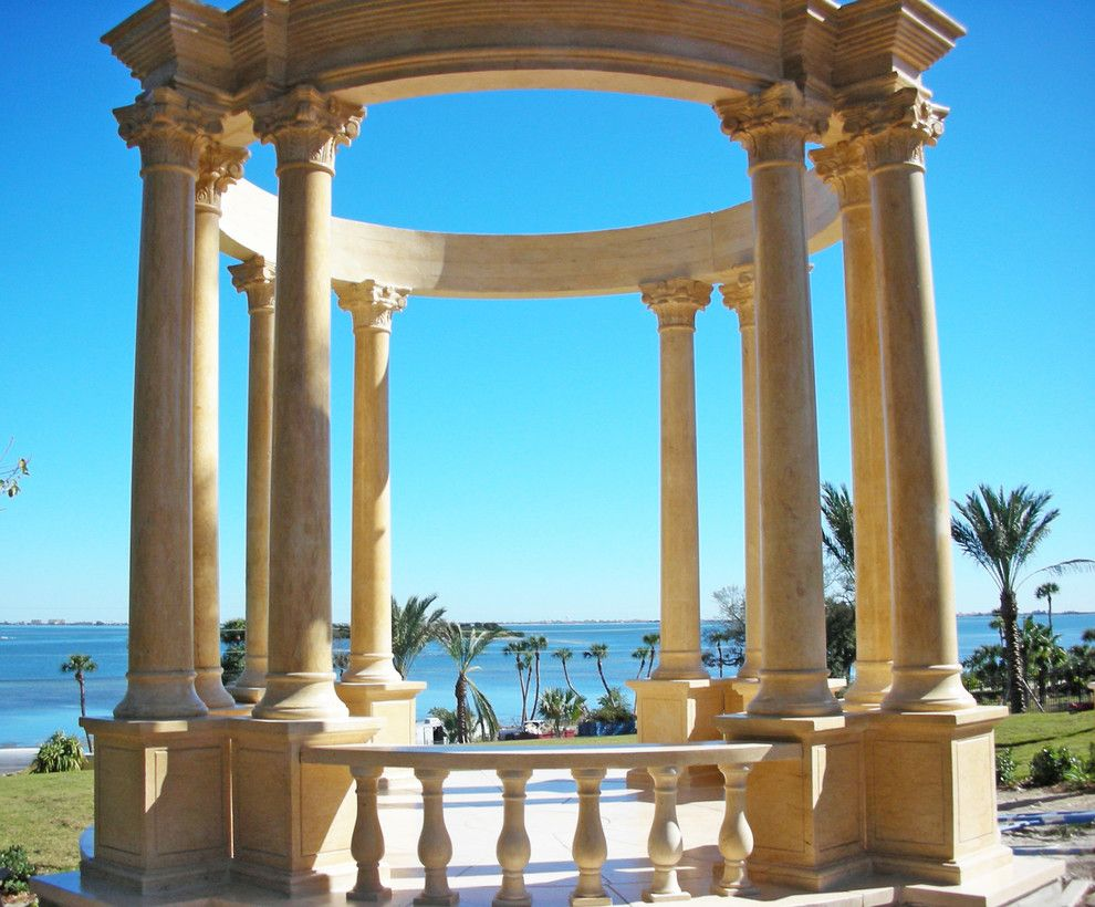 Cambridge Pavers for a Tropical Landscape with a Natural Stone Gazebo and Italian Marble   Gazebo by Italian Marble, Llc