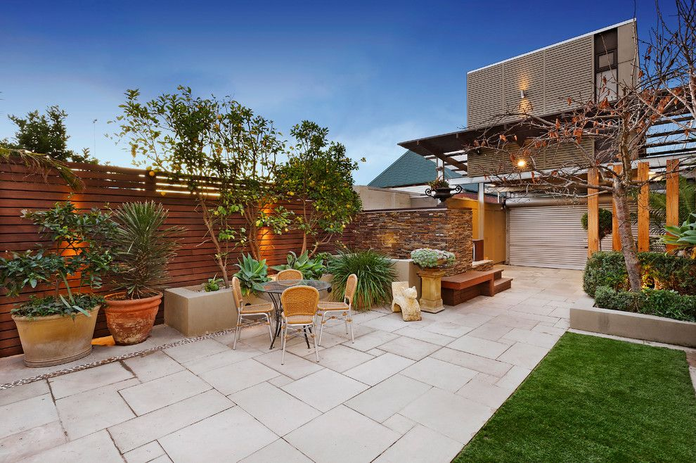 Cambridge Paving Stones for a Contemporary Patio with a Outdoor Furniture and 72 the Parade Ascot Vale  Victoria Australia by Bagnato Architects