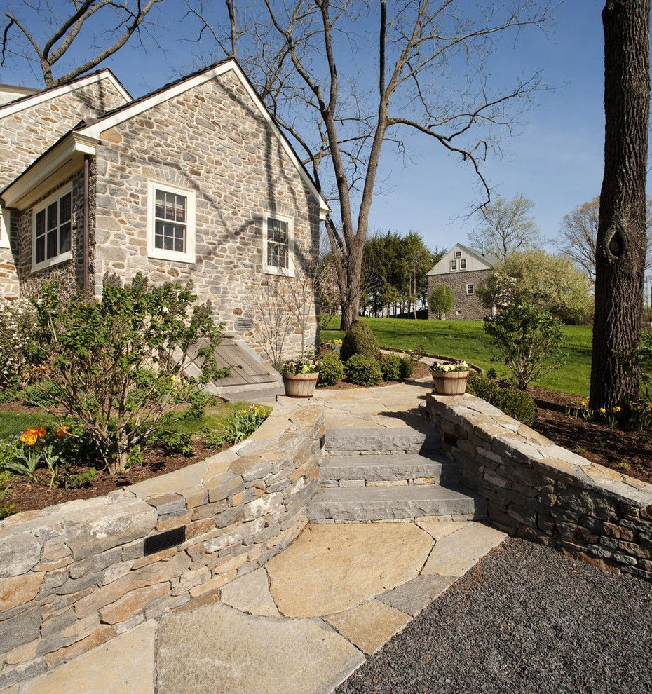 Cambridge Paving Stones for a Traditional Landscape with a Mature Trees and Black Walnut Farm Guest House by Sullivan Building & Design Group
