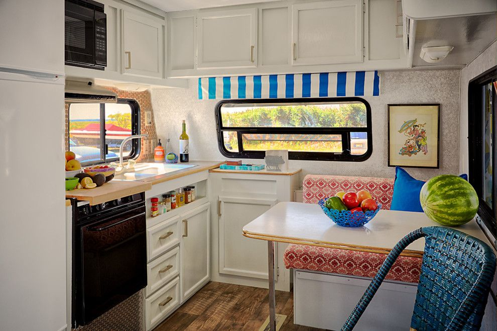 Camper Remodel for a Eclectic Kitchen with a Trailer and Trailer Chic  Strathmere, Nj by Bridget Mcmullin, Asid, Cid, Caps