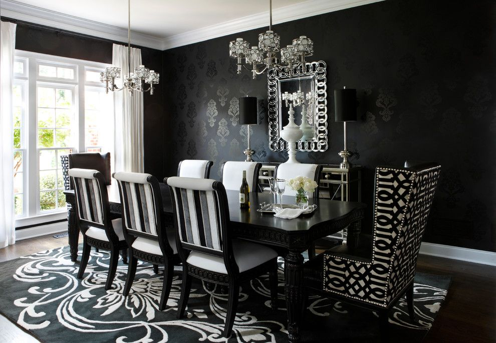 Candice Olsen for a Contemporary Dining Room with a Schumacher Fabric and Papermill Estate East Cobb, Ga by Kristin Drohan Collection and Interior Design