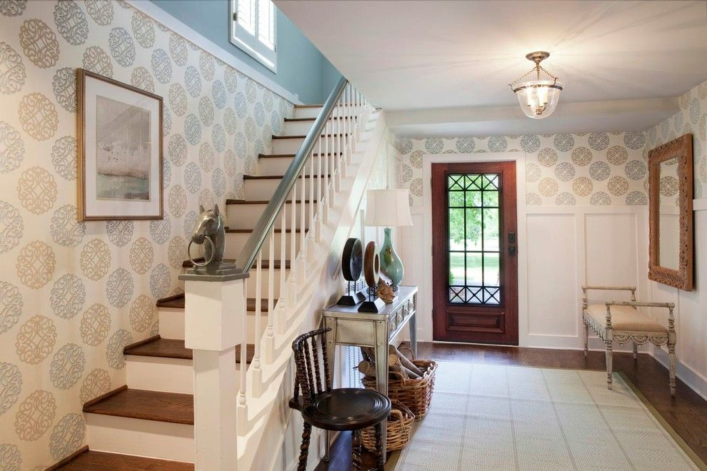 Candice Olsen for a Traditional Entry with a Staircase and Warrior Drive Residence   Franklin by Eric Ross Interiors, Llc