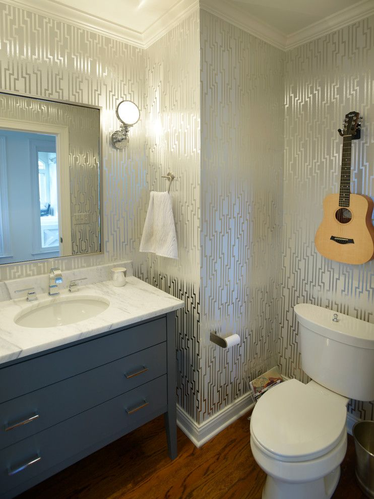 Candice Olsen for a Transitional Powder Room with a Wall Sconces and Clawson by Redo Home & Design