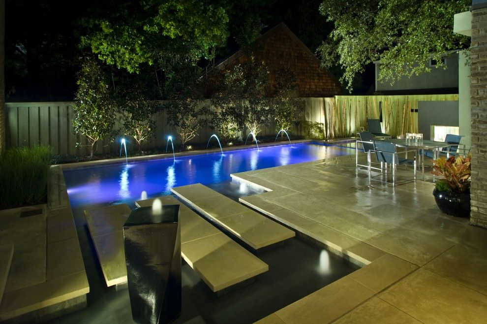 Cannon Pools for a Contemporary Pool with a Rain Curtain and Contemporary Ii by Pool Environments, Inc.