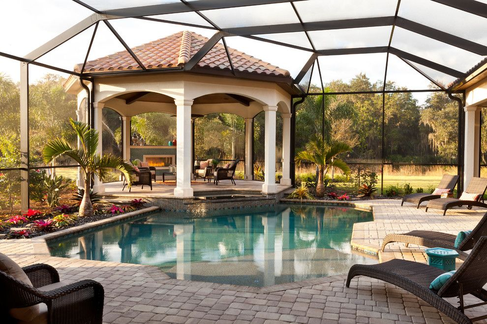 Cannon Pools for a Mediterranean Patio with a Classic Design and the Avianna by John Cannon Homes by John Cannon Homes