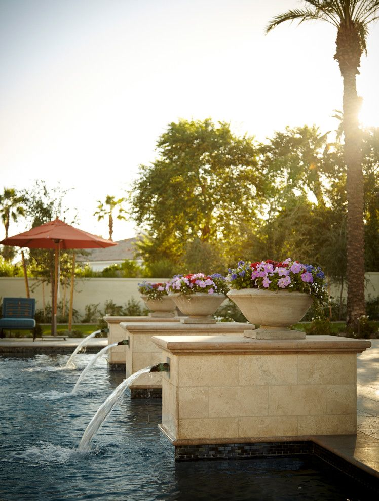 Cannon Pools for a Mediterranean Pool with a Patio and Arcadia Residence, Scottsdale, Arizona by Wiseman & Gale Interiors